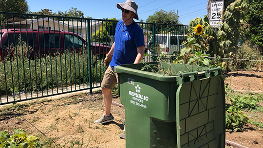 Helping to beautify a community garden in Los Angeles.